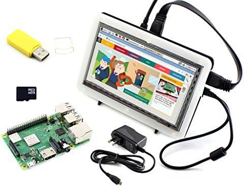 Waveshare Raspberry Pi 3 Model B+ Development Kit Type F 7inch HDMI LCD (C) Bicolor Case 16GB Micro SD Card Power Adapter: Amazon.es: Electrónica
