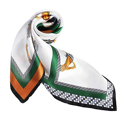 (100% Pure Mulberry Silk Small Square Scarf -21'' x 21''- Breathable Lightweight Neckerchief -Digital Printed Headscarf (Orange& Green -Horse))