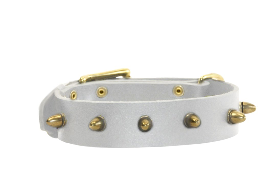 Dean and Tyler  THE BULLET  Leather Dog Collar with Nickel Buckle White Size 46cm by 4cm Width. Fits Neck Size 16 Inches to 20 Inches.
