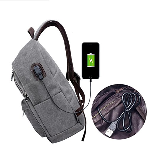 Suzone tela multifunzionale zaino per il tempo libero con porta di ricarica USB per esterni viaggi escursioni borsa a tracolla scuola zaino Zaino, donna Uomo, Black Khaki