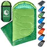 Summer Sleeping Bag, Single, Regular Size - Lightweight, Comfortable, Water Resistant Backpacking Sleeping Bag for Adults & Kids - Ideal for Hiking, Camping & Outdoor Adventures - Green/Green