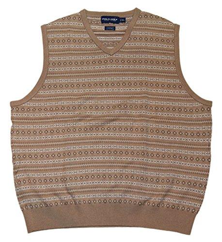 RALPH LAUREN Polo Golf Mens Cashmere Silk V-Neck Sweater Vest Beige Brown (Silk Sweater Vest)