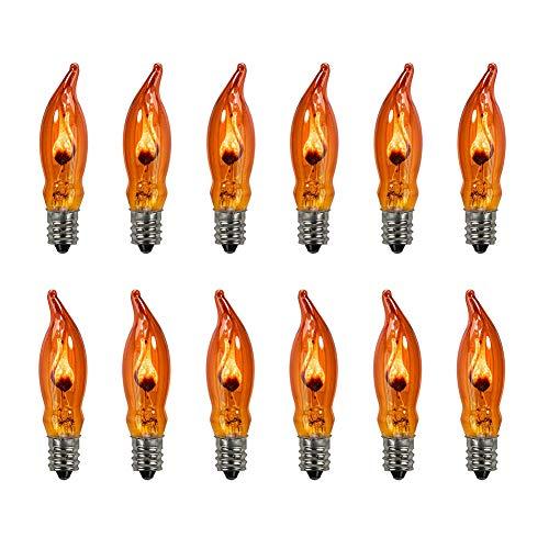 Goothy Orange C18 Flicker Flame String Light Bulbs-1 Watt/120 Volts/ E12 Base(12 Pack)