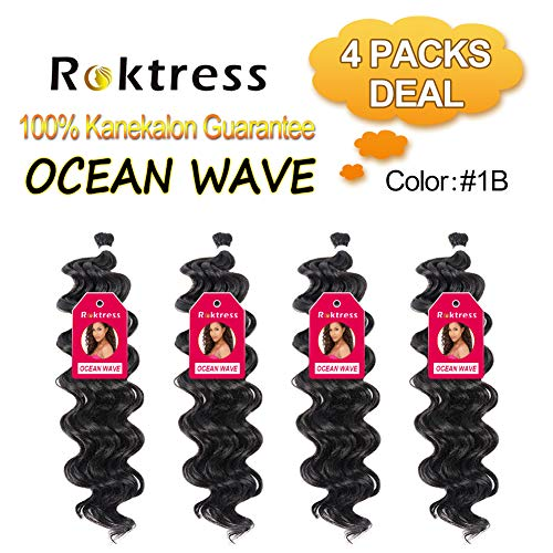 Roktress Ocean Wave Braiding Hair Crochet Braids Wavy Synthetic Hair Extensions-Ocean Wave (20