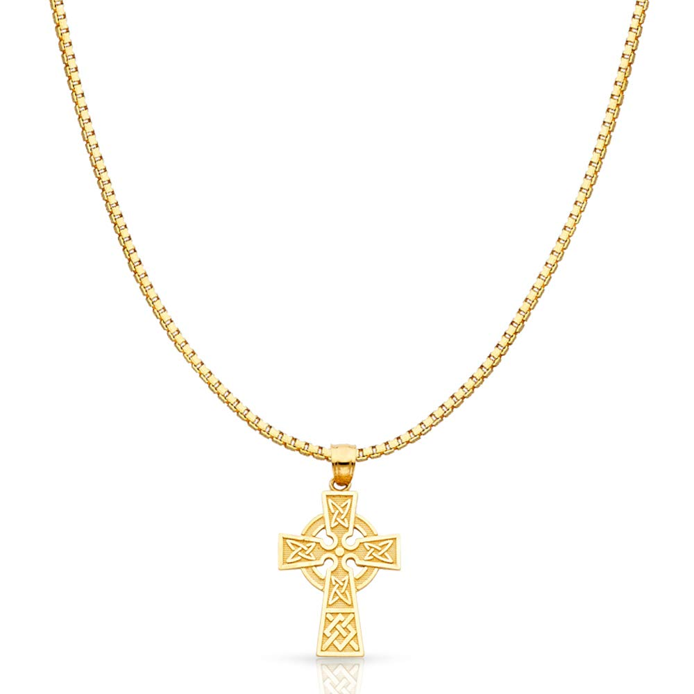 14K Yellow Gold Celtic Cross Religious Charm Pendant with 1.2mm Box Chain Necklace - 24''
