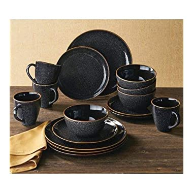 Better Homes & Gardens 16-Piece Burns Dinnerware Set, Black Speckled