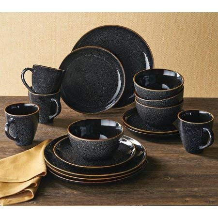 Better Homes & Gardens 16-Piece Burns Dinnerware Set, Black Speckled