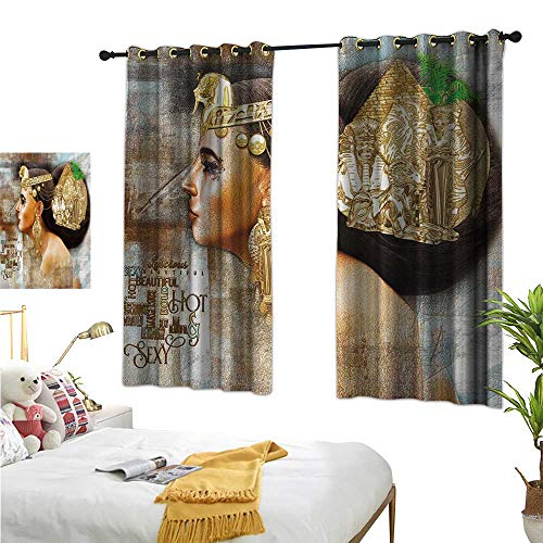 Warm Family Turquoise Curtains Egyptian,Woman Queen Cleopatra Profile Historical Art Scene with Ancient Pyramid Sphinx,Multicolor 84