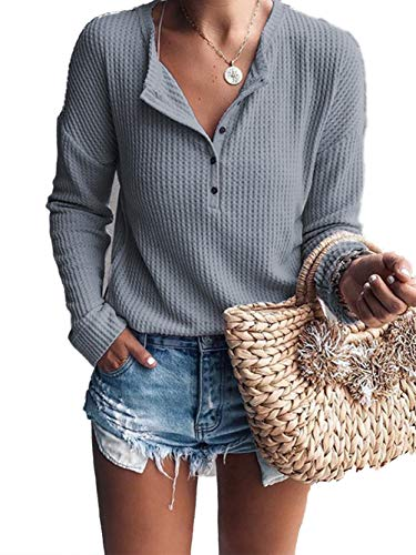 Famulily Women's Casual Buttons V Neck Tshirt Flowy Long Sleeve Waffle Knitted Blouse Tops Grey M