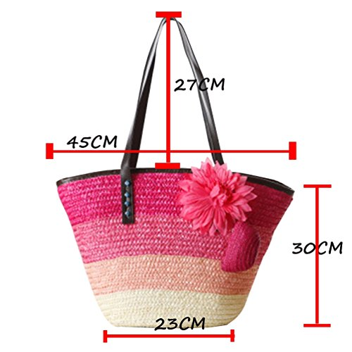 Shoulder Youjia Handbag Green Flower Bags Beach Womens Totes 1 Boho Straw Shopper qwzOU7qHx