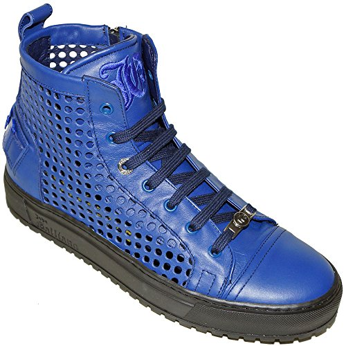john-galliano-5703-perforated-leather-mens-lace-up-high-top-fashion-sneakers-12-blue