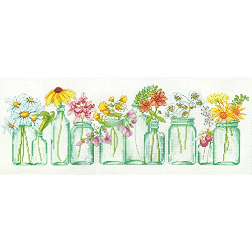 Floral Cross Kit - Dimensions Mason Jar Counted Cross Stitch Kit, 14 Count White Aida, 18'' x 7''.