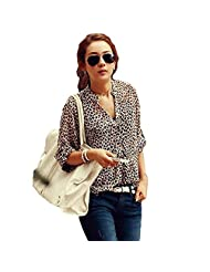 Docooler Women Leopard Print Chiffon Blouse 3/4 Sleeve V-Neck Loose Tops Shirt