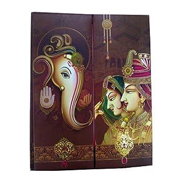 Shri Radhey Premium Wedding Card In Multicolor For Hindu Marriage