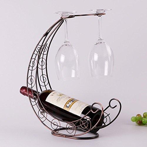 Fantasee Moon Ship Wine Holder Stainless Steel Wine Rack Bottle Holder Novelty Gift for Kitchen Home Decoration (Moon-Bronze)