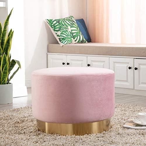 DAGONHIL Modern Round Velvet Ottoman,Upholstered Sofa Stool