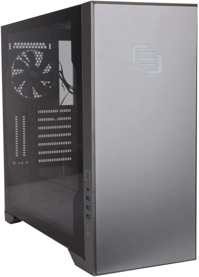 MAINGEAR Vybe RGB Tempered Glass ATX Mid-Tower Gaming Computer Case - Liquid Cooling Ready - Gray