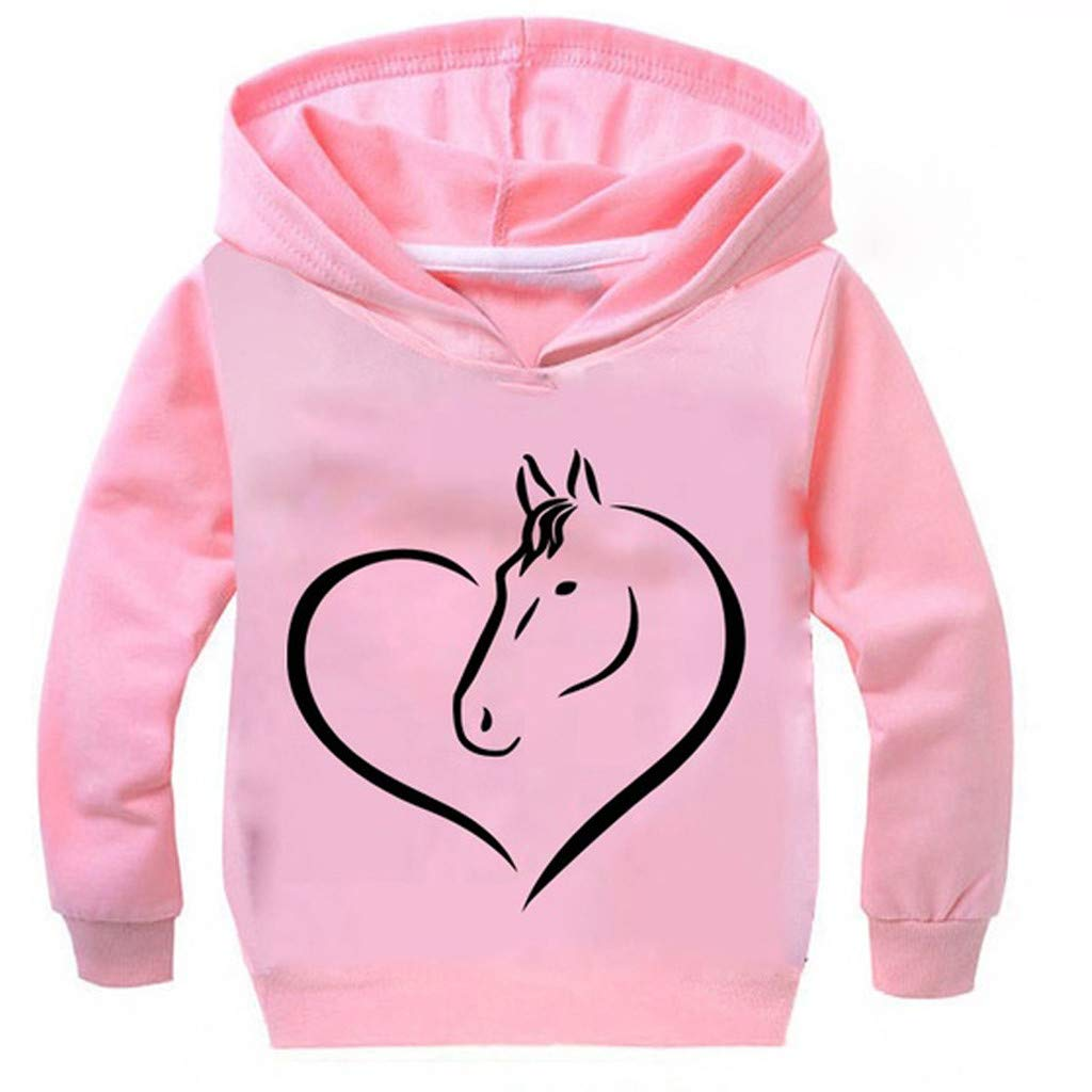 Wenini Teen Kid Boys Girls Letter Heart Shaped Horse Printing Tops Hooded Sweatshirt Outwear Pullover 2-13T by Wenini