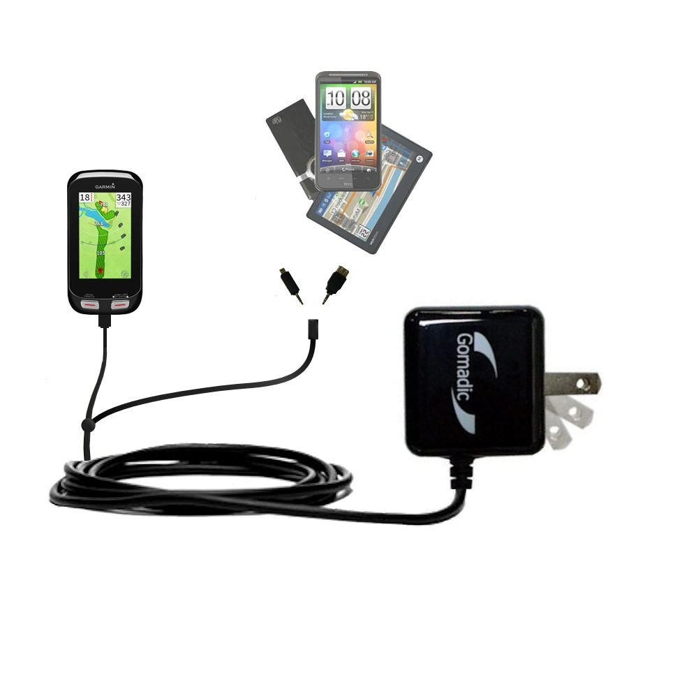 Gomadic Multi Port AC Home Wall Charger designed for the Garmin Approach G8 - Uses TipExchange to charge up to two devices at once by Gomadic