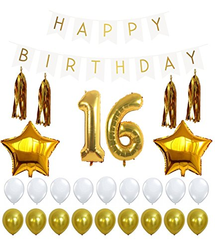 16th Birthday Party Decorations Kit with Happy Birthday Banner Sign, Number 16 Mylar Balloon, Gold Tassels, Gold White Latex Ballon, Perfect 16 Year Old Party Supplies Free Printable Bday (Standard Helium Balloon Kit)