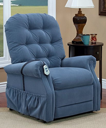 Med Oak Frame - Med-Lift 15 Series Petite 2 Way Reclining Lift Chair, Williamsburg Blue, 125 Pound
