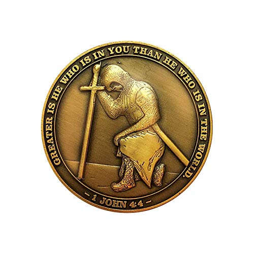 The Task Ahead, I Can Do All Things, Challenge Coin, Antique Gold Plated, Featuring a Kneeling Knight Templar and Philippians 4:13 ()