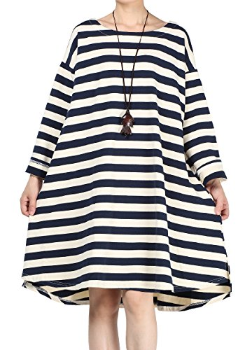 (Mordenmiss Women's Daily Pullover Stripes Loose Dresses Blue-XL)
