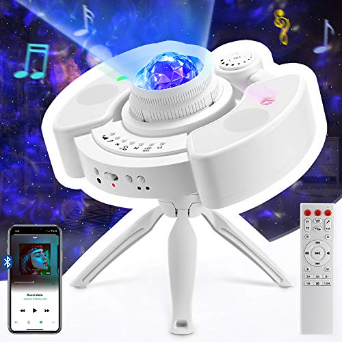 MFL. Star Projector Starry Galaxy Night Light for Bedroom with Bluetooth Stereo Speaker, Adjustable Tripod Stand and Remote Control for Kids, Ceiling for Adults, Black