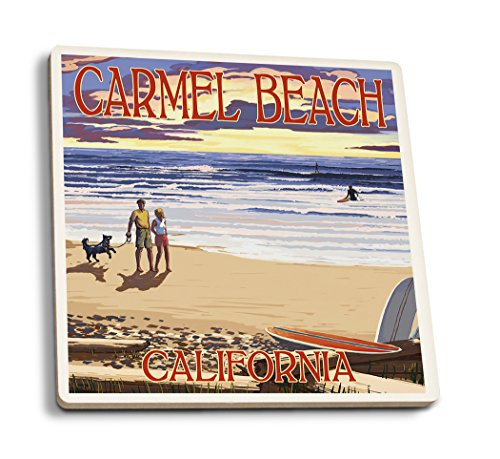 Lantern Press Carmel Beach, California - Sunset Beach Scene (Set of 4 Ceramic Coasters - Cork-Backed, Absorbent)