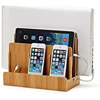 Youdepot Multi Device Charging Station Original Electronics Charging Station & Organizer for Laptops, Tablets, Smartphones & Other Gadgets Strong Build of 100% Eco Bamboo