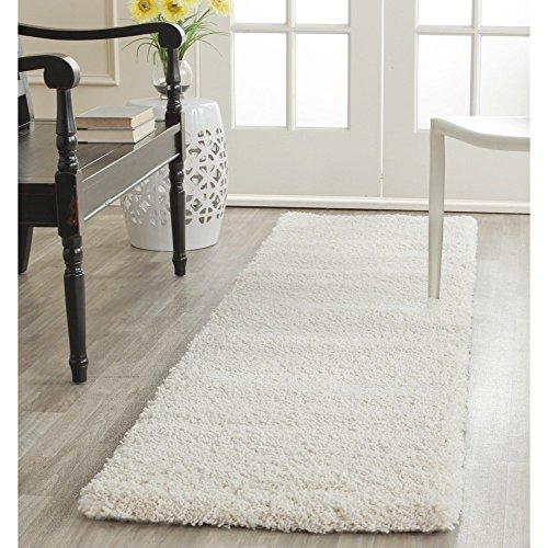 Safavieh Milan Shag Collection SG180-1212 Ivory Runner (2' x - Runner Cream Rug