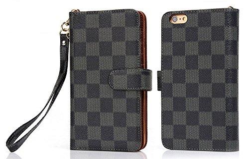 for iPhone 6 7 8 9 X S Plus Luxury Famous Trifold Packet Clip Strap flip Grid Leather Cash Slot Wallet Case Cover for Women Men boy Girl LV99 (for - Vuitton Louis Case Wallet Iphone