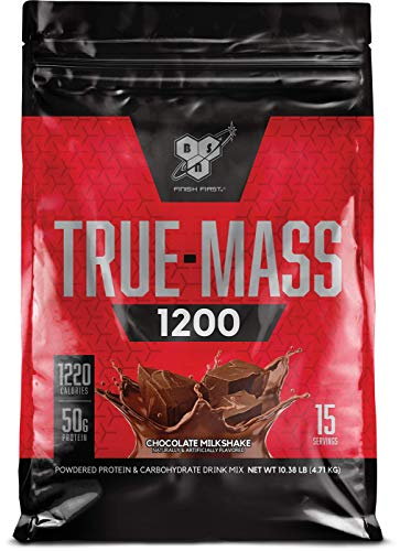 BSN TRUE-MASS Weight Gainer, Muscle Mass Gainer Protein Powder, Chocolate Milkshake, 10.38 Pound ()