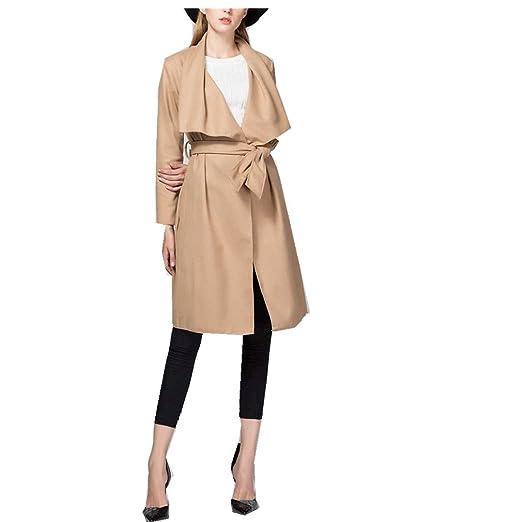 OUMIZHI Damen Mantel Trenchcoat mit Gürtel Onesize Lang und Kurz   Amazon.de  Bekleidung 2c1771a270