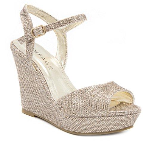 Rampage Women's Crissy Glittered Mesh Wedge Slingback Dress Sandal 9.5 Gold Glitter