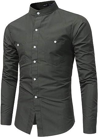 Camisa de hombre Camisa de carga de color sólido (M-XXL) para hombres con bolsillos dobles