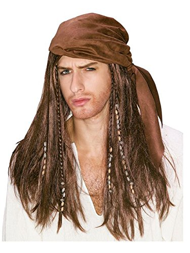 Brown Caribbean Pirate Wig -