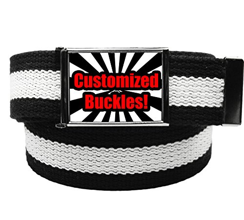 Custom Printed Men's Flip Top Bottle Opener Buckle with Canvas Web Belt Small Black and White Stripe -