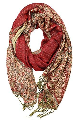 - Achillea Luxurious Big Paisley Jacquard Layered Woven Pashmina Shawl Wrap Scarf Stole (Red)