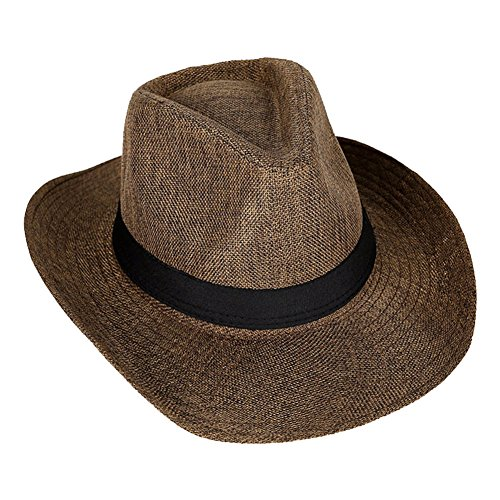 4da7b29dd27 Amazon.com  BAOBAO Summer Women Men Beach Braid Straw Sun Hat Short Brim  Jazz Panama Fedora Cap  Clothing