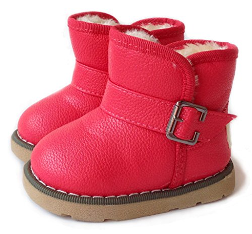 IOO Toddler Girls Boys Waterproof Snow Boots Baby Kids Warm Winter Fur Shoes Red 26