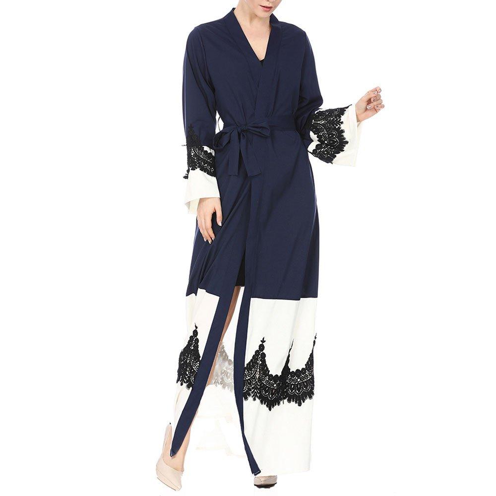 Molyveva Women New Muslim Islamic Kimono Lace Stitching Cardigan Loose Robe Coat by Molyveva Women Coat (Image #4)