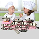 Hot ! Iusun 20Pcs Stainless Steel Pots Pans Cookware Miniature Toy Pretend Play Kids Gift (Silver)