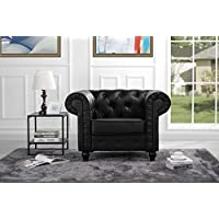 Classic Chesterfield Scroll Arm Tufted Bonded Leather Accent Chair (Black)