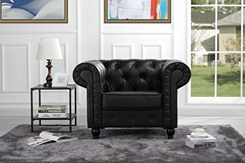 Classic Chesterfield Scroll Arm Tufted Bonded Leather Accent Chair (Black) (Accent Scroll Chair)