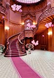 5x7FT Laeacco Vinyl Thin Backdrop Photography Background Indoor Pink Carpet Stairway Vintage House Balloons Scene Personal Portraits Background Photo Studio Props 1.5(w)x2.2(h)m