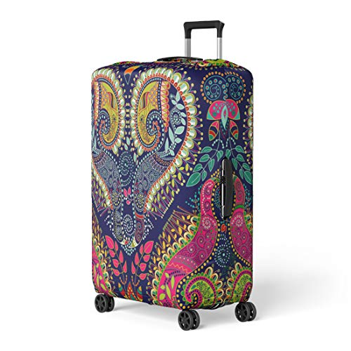 Pinbeam Luggage Cover Pattern Colorful Paisley Original Indian Ethnic Batik Floral Travel Suitcase Cover Protector Baggage Case Fits 18-22 - Chinese Carpet Tibetan