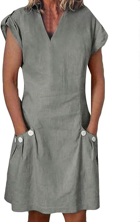 LeeMon - Vestido de Verano para Mujer, de un Solo Color, de ...
