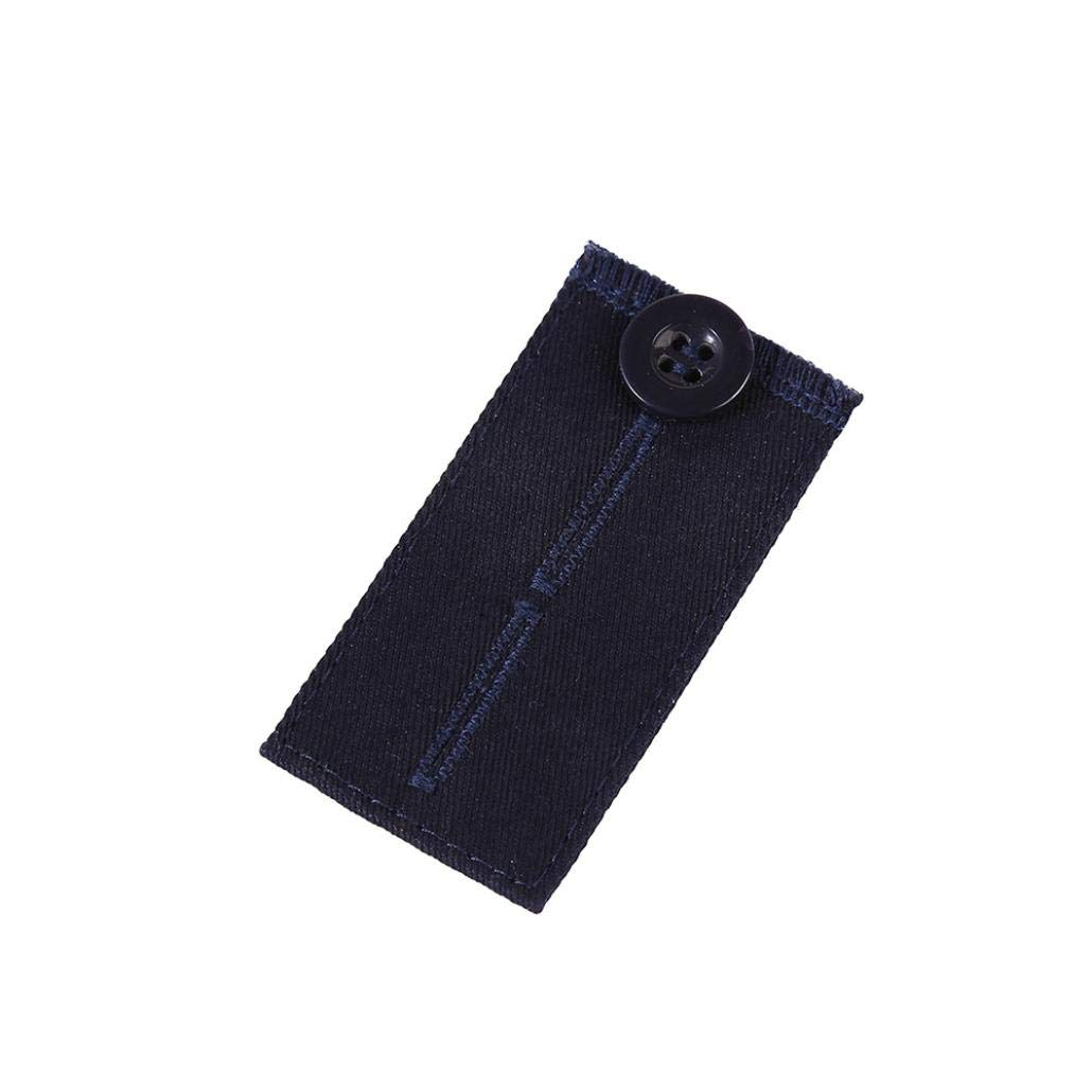 SUKEQ Pants Waist Extenders, Adjustable Elastic Denim Waistband Extender with Plastic Button and Two Holes for Women Men (Navy)