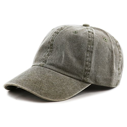 THE HAT DEPOT 100% Cotton Pigment Dyed Low Profile Six Panel Cap Hat (Olive)